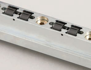QDC heavy duty hydraulic die lifter rail with 90 degree non-traditional rollers - Quick Die Change SMED from PFA