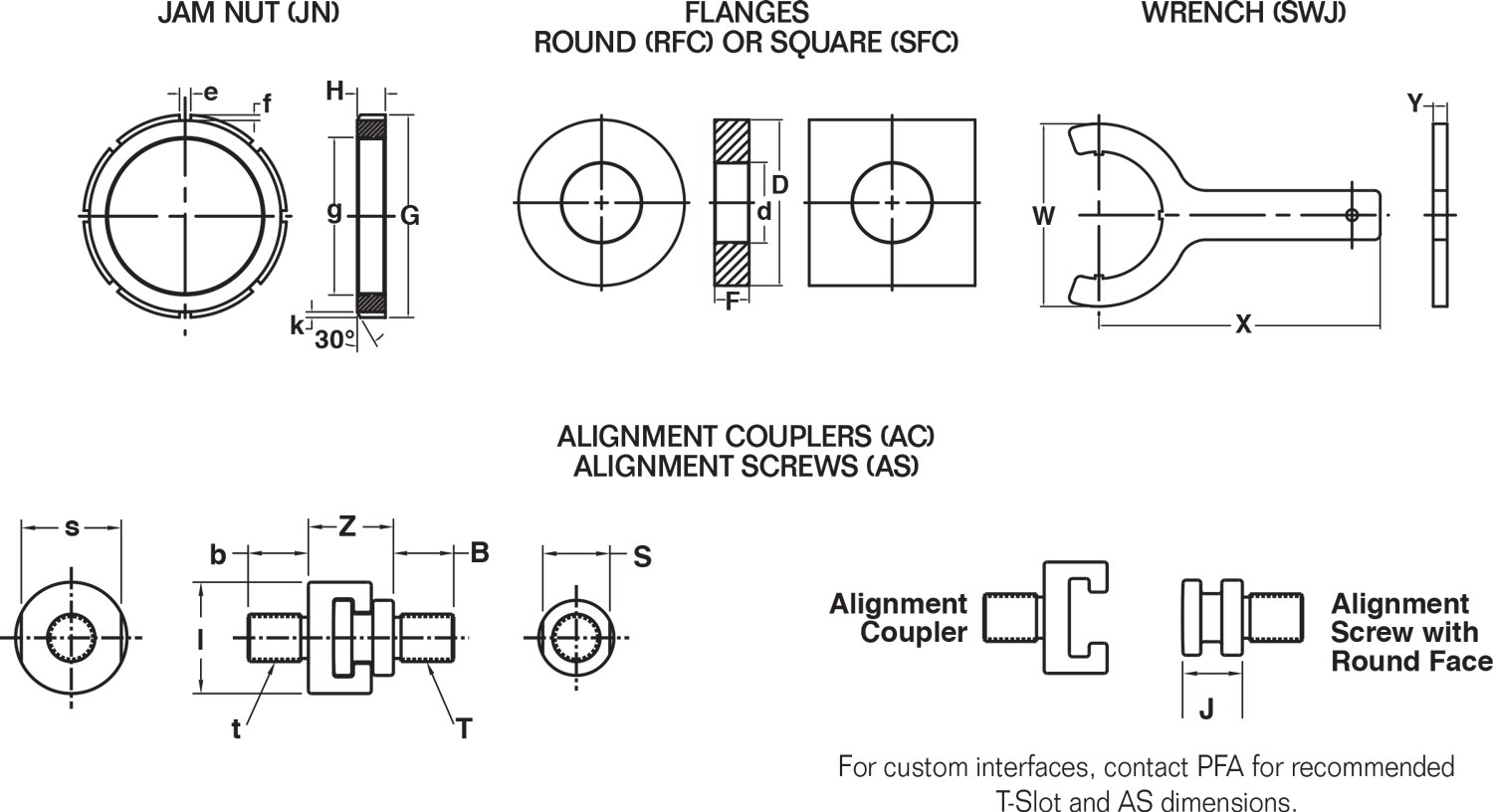 PFA KOR-LOK Locking Cylinder Accessories - dimensions