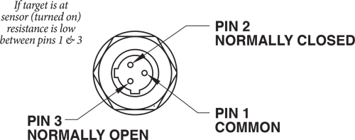 Hydraulic Locking Cylinder sensor KOR-LOK wiring XLT relay sensor pin Common, NC, NO
