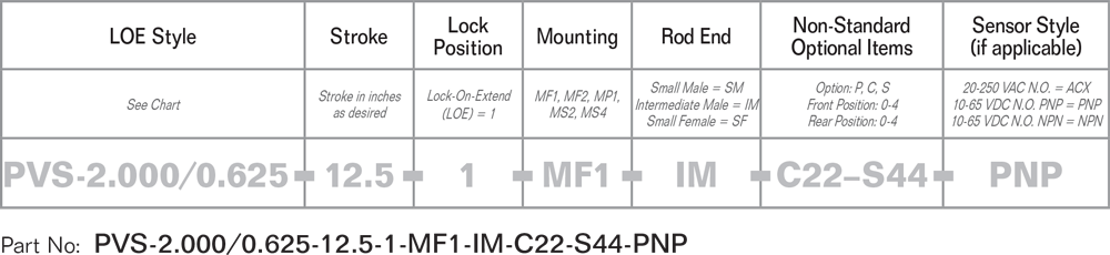 PFA Lock on Extend Pneumatic or Hydraulic Locking Cylinder part number specifications