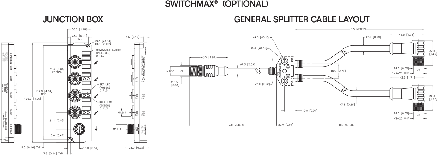 PFA SWITCHMAX LED cable system drawing layout for PNP or mechanical sensors
