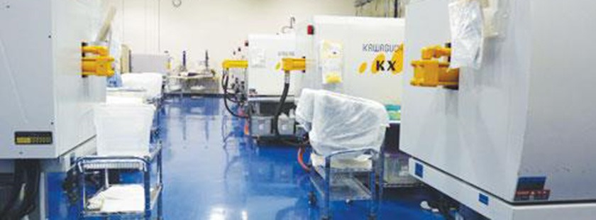 Star Die Molding cleanroom for medical plastic moulding with PFA Locking Core Pull Cylinders