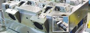Mold slide preloading with hydraulic locking cylinder core pull system from PFA - Injection Moulding