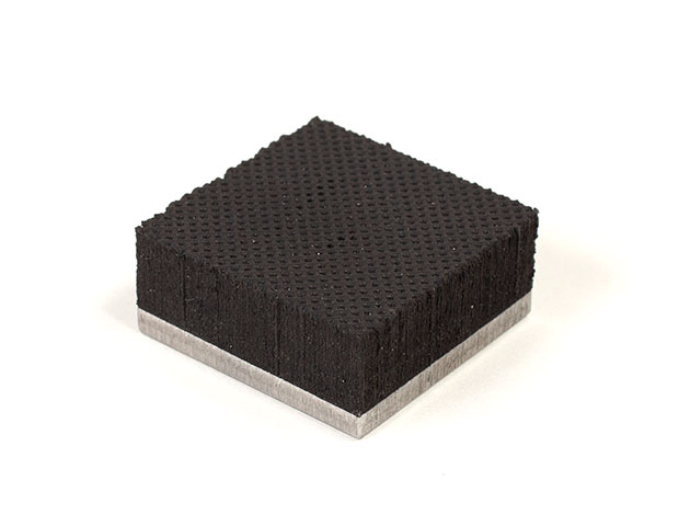"1.2"" x 1.2"" PFA Nitrile Rubber (NBR Buna-N) Gripper Pad on Steel plate - Knurled surface"