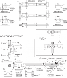 PFA Quick Die Change Model 948 and 950 Pneumatic Air Die Lifter Rail Schematic Drawing