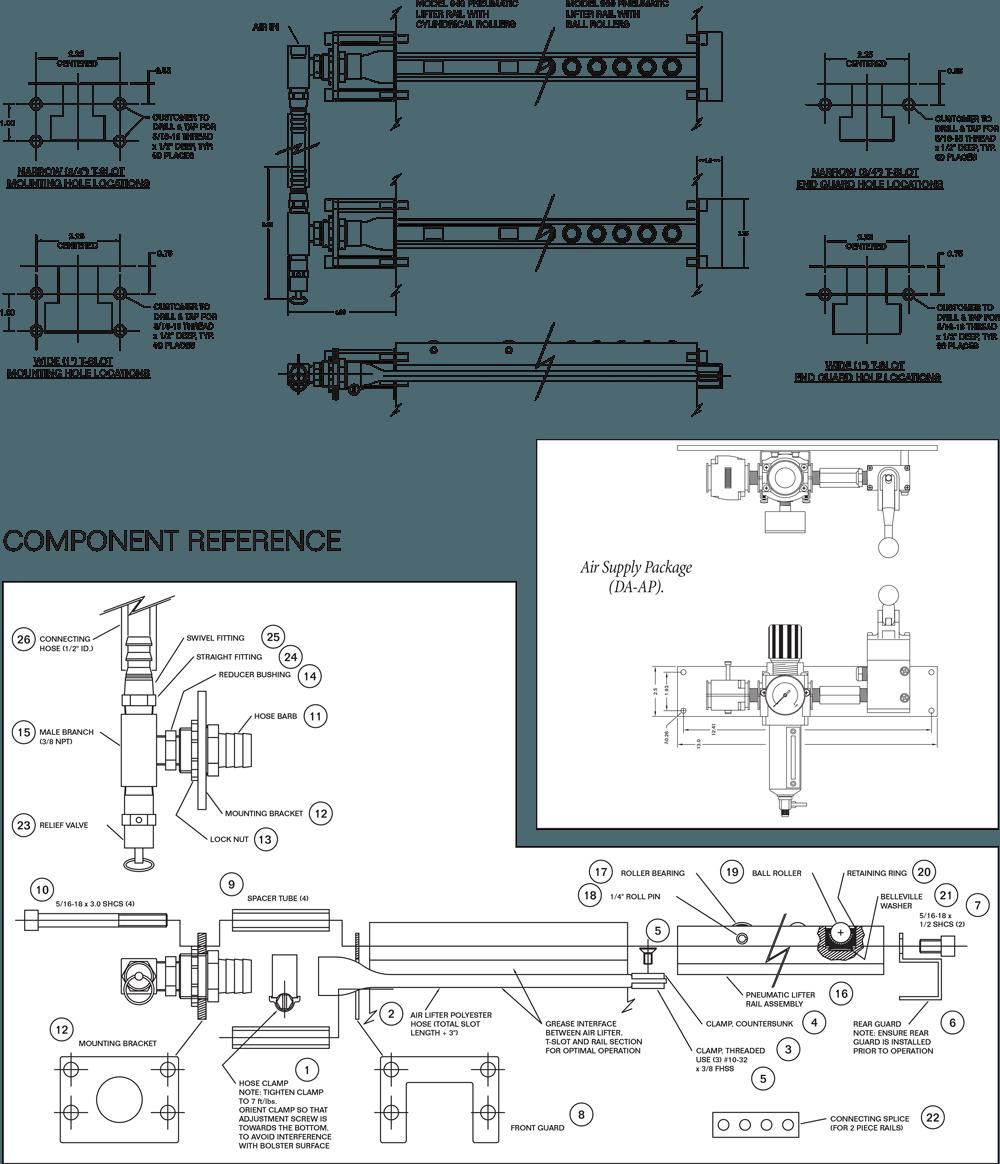 Pneumatic Air Bag Die Lifters Drawing
