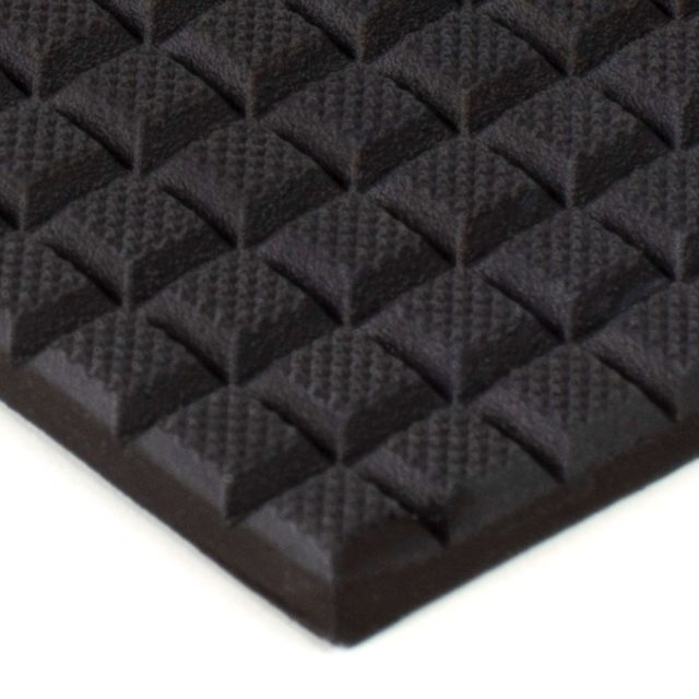 """6"""" x 12"""" PFA Gripper Pad: Waffled Rubber Pad (Elastomer Only - 1/4"""" thick)"""
