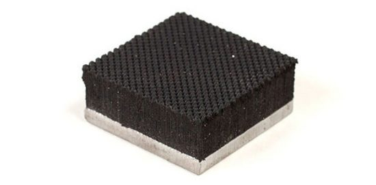 "1.2"" x 1.2"" PFA Nitrile Rubber (NBR Buna-N) Gripper Pad on Steel plate - Pebbled surface"