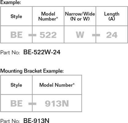 Traveling and Slotless Bolster Part Number Example